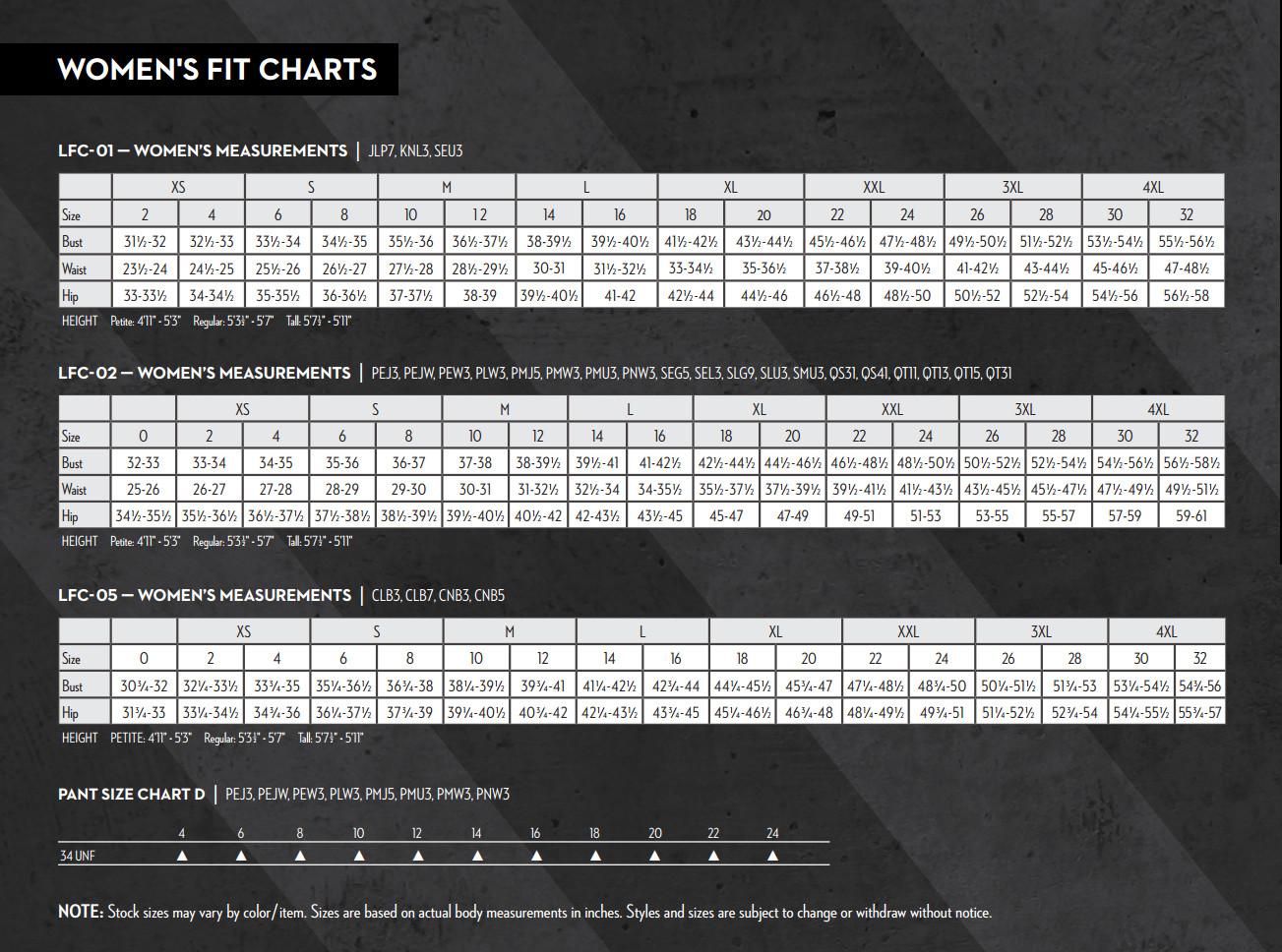 women's frc size chart