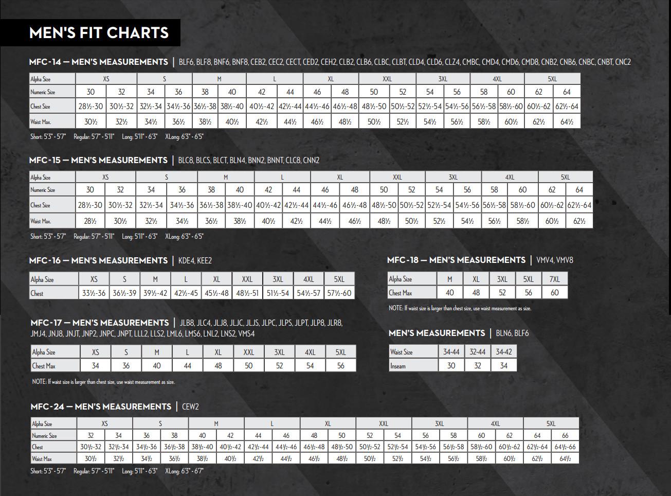 men's frc size chart